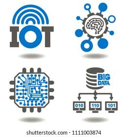 IOT. AI. Big Data. Micro Chip. Network. Digital Information Technology Vector Icon Set.