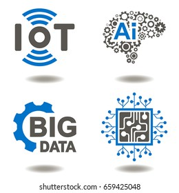 IOT AI BIG DATA MICROCHIP Vector Icon Set. Internet of things Artificial Intelligence Data Micro Circuit Information Technology Illusration. Innovative Technologies Graphic Signs.