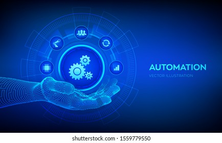 IOT and Automation Software concept as an innovation, improving productivity in technology and business processes. Automation icon in robotic hand. Vector illustration.