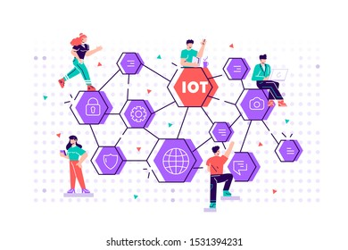 IOT concept. Internet of things. Network. Everything connectivity device concept, business with internet, with small people around. Flat style vector design illustration for web, print, presentation.