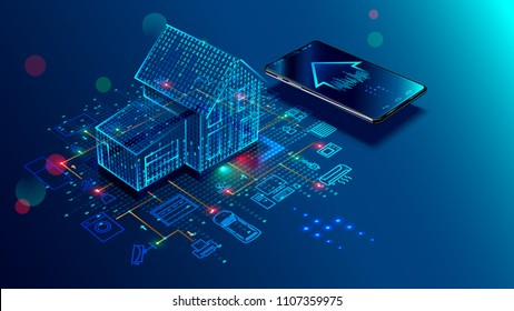 IOT concept. Smart home connection and control with devices through home network. Internet of things doodles background.