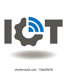 IOT Gear WIFI Icon Vector. Internet of Things Service Illustration. Smart Wireless technology Logo Symbol.
