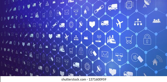 IoT (Internet of things ) or Industry 4.0 (industrial internet) banner. Concept and infographic. Connected devices and objects with business automation flow  a blue background. landing page template