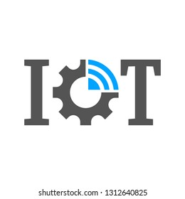IOT (Internet of Things) logo vector template. Gear and letters. IoT concept EPS 10.