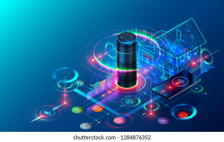 IOT isometric technology concept. Smart Speaker recognizes voice commands and controls System of Smart Home. The Phone Communicates with Devices of Internet of Things via Wireless Connection.