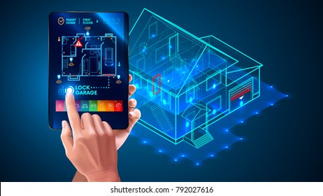 IOT. Smart home system application interface. 3d house plan x-ray. Hand touching on tablet screen. Control locks doors and windows over internet of things with tablet application. Security Home System