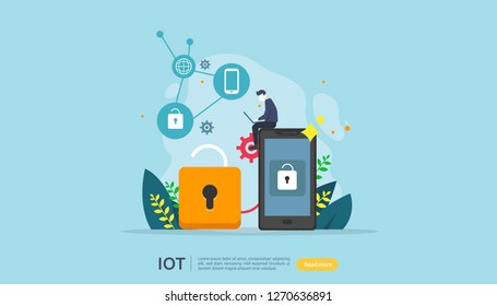 IOT smart house monitoring concept for industrial 4.0. home remote lock technology on smartphone screen app of internet of things. web landing page template, banner, print media. Vector illustration