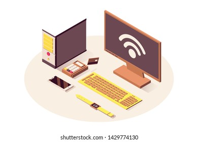 IoT technology vector isometric illustration. Cloud computing service, wifi wireless connection, telecommunication system. Computer, payment terminal, smartphone and smart watch isolated 3d clipart