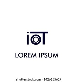 IOT text logo icon for new technology in internet of things company