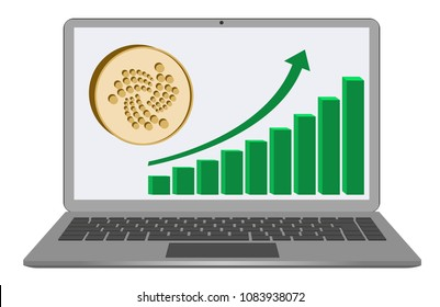 iota coin with growth chart on a  laptop screen on white background , cryptocurrency in the laptop , symbol and sign of iota , design concept