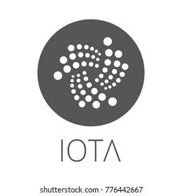 IOTA coin symbol logo. Crypto currency IOTA logotype isolated on white background. Vector graphics.