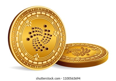 Iota. Crypto currency. 3D isometric Physical coins. Digital currency. Golden coins with Iota symbol isolated on white background. Vector illustration.
