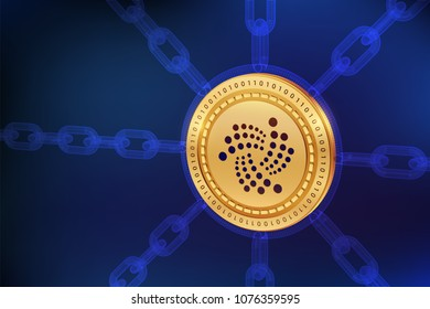 Iota. Crypto currency. Block chain. 3D isometric Physical Iota coin with wireframe chain. Blockchain concept. Editable Cryptocurrency template. Stock vector illustration.