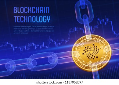 Iota. Crypto currency. Block chain. 3D isometric Physical golden Iota coin with wireframe chain on blue financial background. Blockchain concept. Editable Cryptocurrency template. Vector illustration.