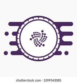 IOTA Crypto Currency Coin Flat Logo on Abstract Purple and White Background. Blockchain Coin Sticker for Web or Print.
