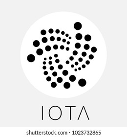 IOTA decentralized blockchain Internet-of-things payments cryptocurrency. IOTA black white vector logo.