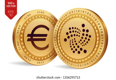 Iota. Euro coin. 3D isometric Physical coins. Digital currency. Cryptocurrency. Golden coins with Iota and Euro symbol isolated on white background. Vector illustration.