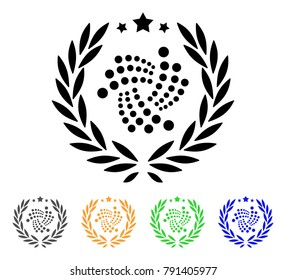 Iota Laurel Wreath icon. Vector illustration style is a flat iconic iota laurel wreath black symbol with grey, yellow, green, blue color variants. Designed for web and software interfaces.