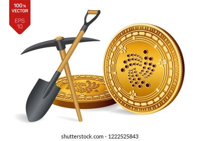 Iota mining concept. 3D isometric Physical bit coin with pickaxe and shovel. Digital currency. Cryptocurrency. Golden Iota coins isolated on white background. Vector illustration.