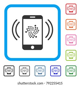 Iota Mobile Banking icon. Flat grey pictogram symbol in a blue rounded rectangular frame. Black, grey, green, blue, red, orange color variants of iota mobile banking vector.