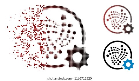 Iota settings gear icon in dispersed, pixelated halftone and undamaged entire versions. Particles are arranged into vector dispersed Iota settings gear figure.