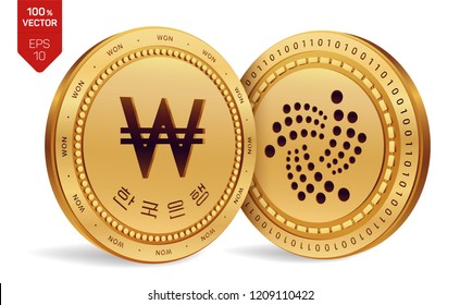 Iota. Won. 3D isometric Physical coins. Digital currency. Korea Won coin with the text in Korean Bank of Korea. Cryptocurrency. Golden coins with Iota and Won symbol on white background. Vector.