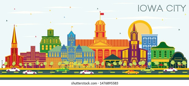 Iowa City Skyline with Color Buildings and Blue Sky. Vector Illustration. Business Travel and Tourism Illustration with Historic Architecture. Iowa City Cityscape with Landmarks.