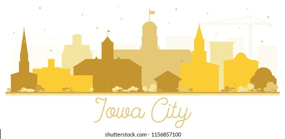 Iowa City Skyline Golden Silhouette. Vector Illustration. Simple Flat Concept for Tourism Presentation, Banner, Placard or Web Site. Business Travel Concept. Iowa City Cityscape with Landmarks.