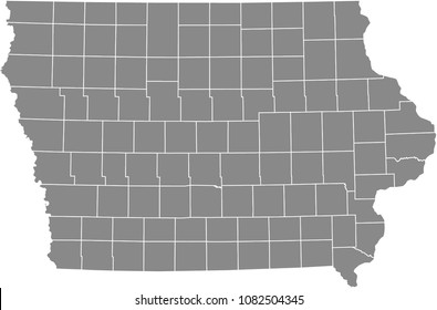 Iowa county map vector outline illustration gray background.