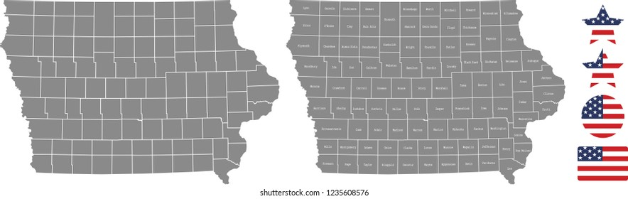 Iowa county map vector outline in gray background. Iowa state of USA map with counties names labeled and United States flag vector illustration designs