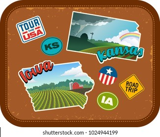 Iowa and Kansas travel stickers with scenic rural landscapes and retro text on vintage suitcase background