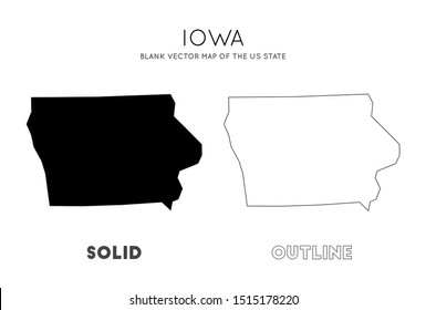 Iowa map. Blank vector map of the Us State. Borders of Iowa for your infographic. Vector illustration.