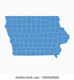 Iowa map blue color. USA state Iowa map icon. Iowa vector modern map. Vector illustration EPS10