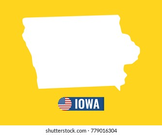 Iowa map isolated on color background silhouette. Iowa USA state. American flag. Vector illustration.