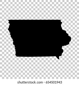 Iowa map isolated on transparent background. Black map for your design. Vector illustration, easy to edit.