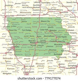 Iowa map. Shows state borders, urban areas, place names, roads and highways.Projection: Mercator.
