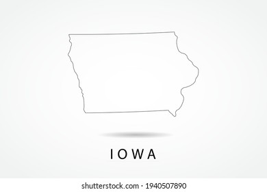 Iowa Map- State of USA Map International vector template with thin black outline or outline graphic sketch style and black color isolated on white background - Vector illustration eps 10