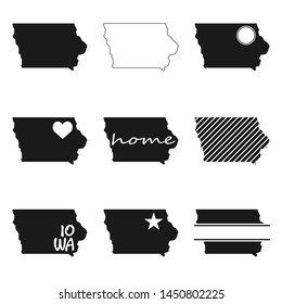 Iowa Map. Symbol Icon Set. Flat Vector Art Design. Clip Art Logo Collection.