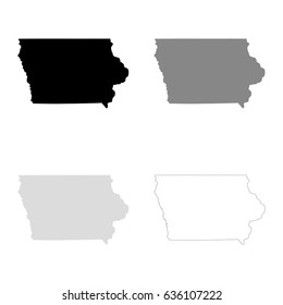 Iowa maps in black, gray and line art. High detailed vector map, easy to edit.