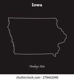 Iowa outline map, stroke. Name of state. Line style. Vector EPS8