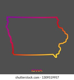 Iowa purple red yellow fluid gradient outline map, stroke. Line style. Vector illustration