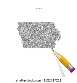 Iowa sketch scribble map isolated on white background. Hand drawn vector map of Iowa. Realistic 3D pencil with eraser.