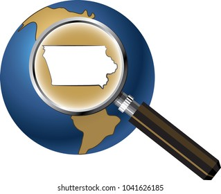 Iowa State Map Enlarged with Magnifying Glass on Globe