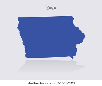 Iowa State Map Outline for infographics or news media for politics and elections in the United States of America. Democrat blue isolated vector illustration.