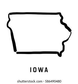 Iowa state map outline - smooth simplified US state shape map vector.