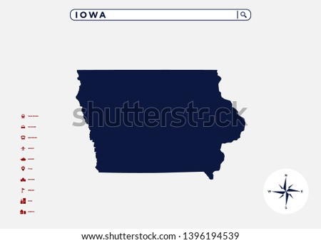 Iowa State Map United States America Stock Vector (Royalty Free ...
