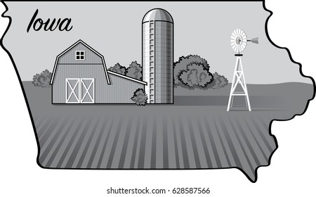 Iowa State Map Vector Illustration with Farm Landscape Isolated on White