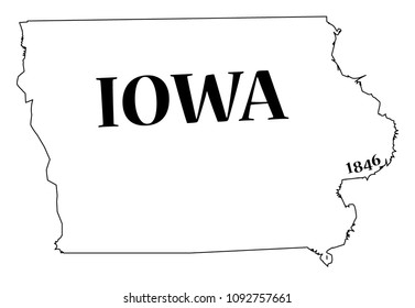 An Iowa state outline with the date of statehood isolated on a white background