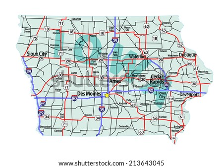 Iowa Map With Highways.Iowa State Road Map Interstates Us Stock Vector Royalty Free