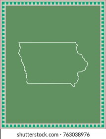 Iowa state of USA map vector outline illustration in green background